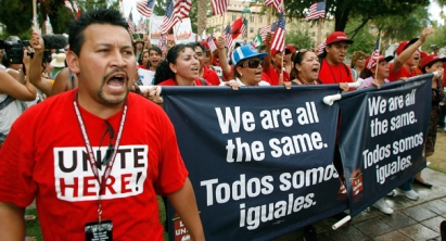 Immigrants protesting for equality in America. (AP Photo)